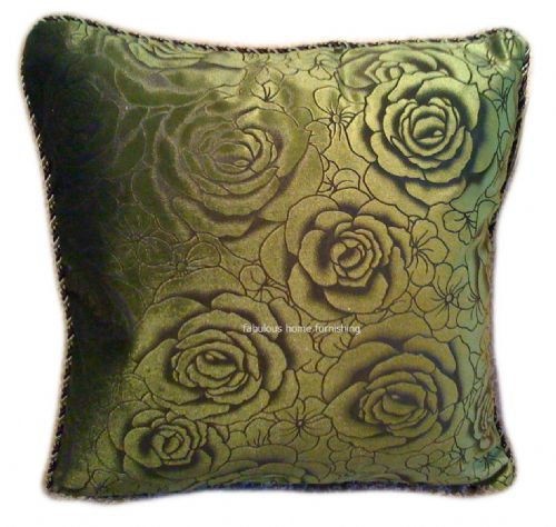 CHENILLE FLORAL ROSES CUSHION LIME GREEN COLOUR